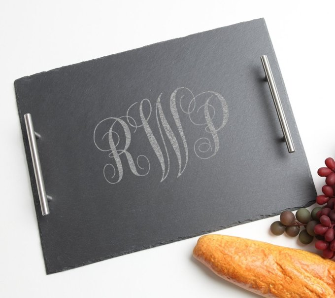 Personalized Slate Serving Tray Stainless 15 x 12 DESIGN 1 SSTS-001