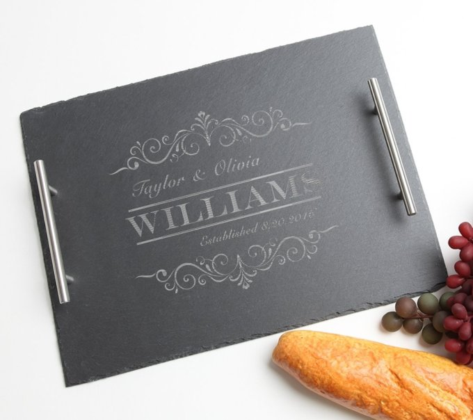 Personalized Slate Serving Tray Stainless 15 x 12 DESIGN 34 SSTS-034