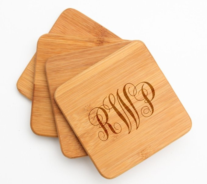 Engraved Bamboo Coaster Set of 4