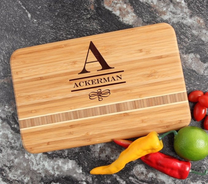 Personalized Bamboo Cutting Board Engraved 12 x 8 DESIGN 12 CBE-012