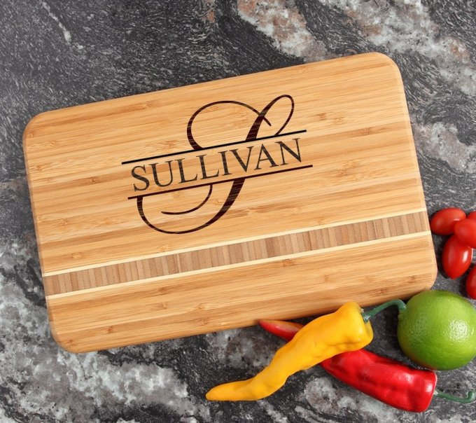 Personalized Bamboo Cutting Board Engraved 12 x 8 DESIGN 25 CBE-025
