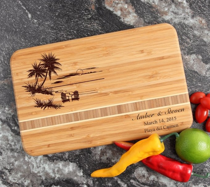 Personalized Bamboo Cutting Board Engraved 12 x 8 DESIGN 33 CBE-033