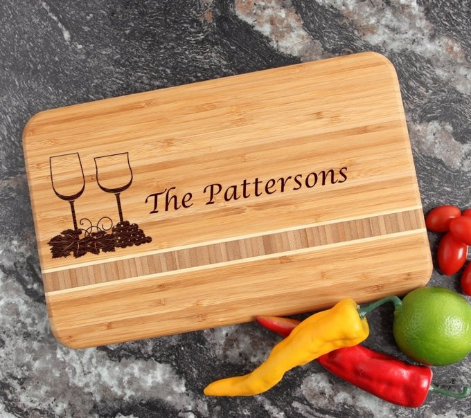 Personalized Bamboo Cutting Board Engraved 12 x 8 DESIGN 5 CBE-005