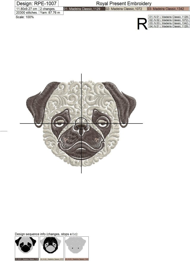 Орнаментальный дизайн машинной вышивки Мопс