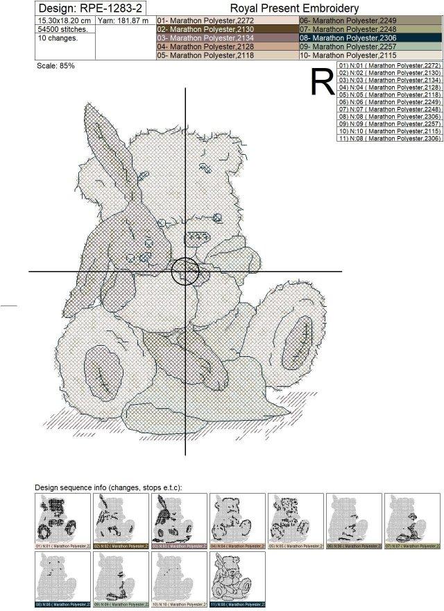 Медвежонок и Зайка Дизайн машинной вышивки крестом - 2 размера
