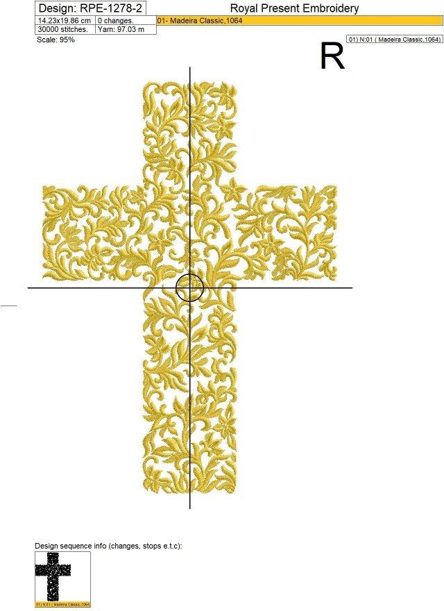 Дизайн машинной вышивки Пасхальный растительный Крест - 3 размера