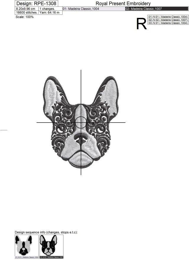 Дизайн машинной вышивки Французский Бульдог