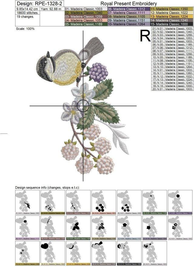 Дизайн машинной вышивки Синичка - 2 размера