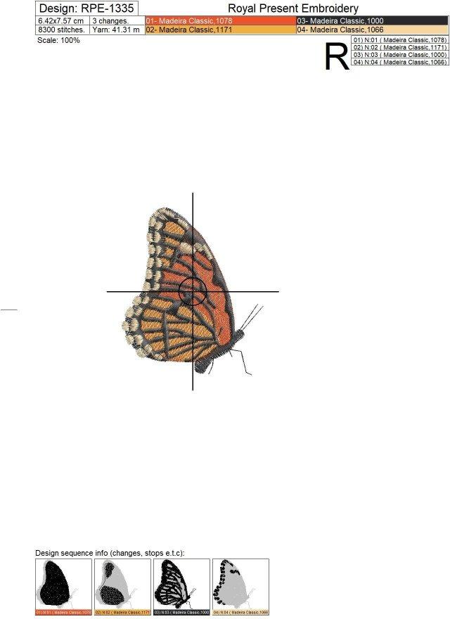 Два дизайна машинной вышивки Бабочка