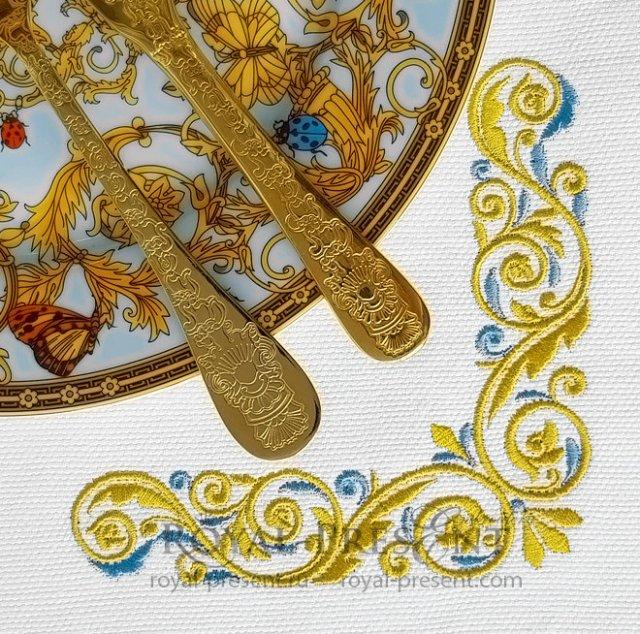 Золото с голубым Угловой Дизайн машинной вышивки - 3 размера RPE-1374