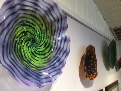 Purple Green Blown Glass Wall Platter