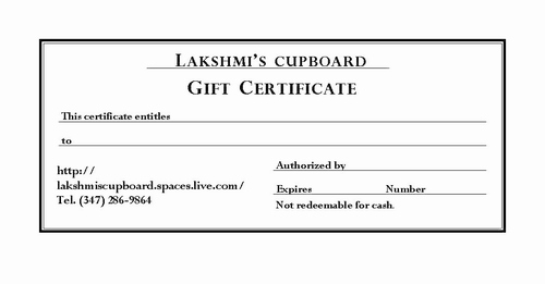 $25 GIFT CERTIFICATE 09