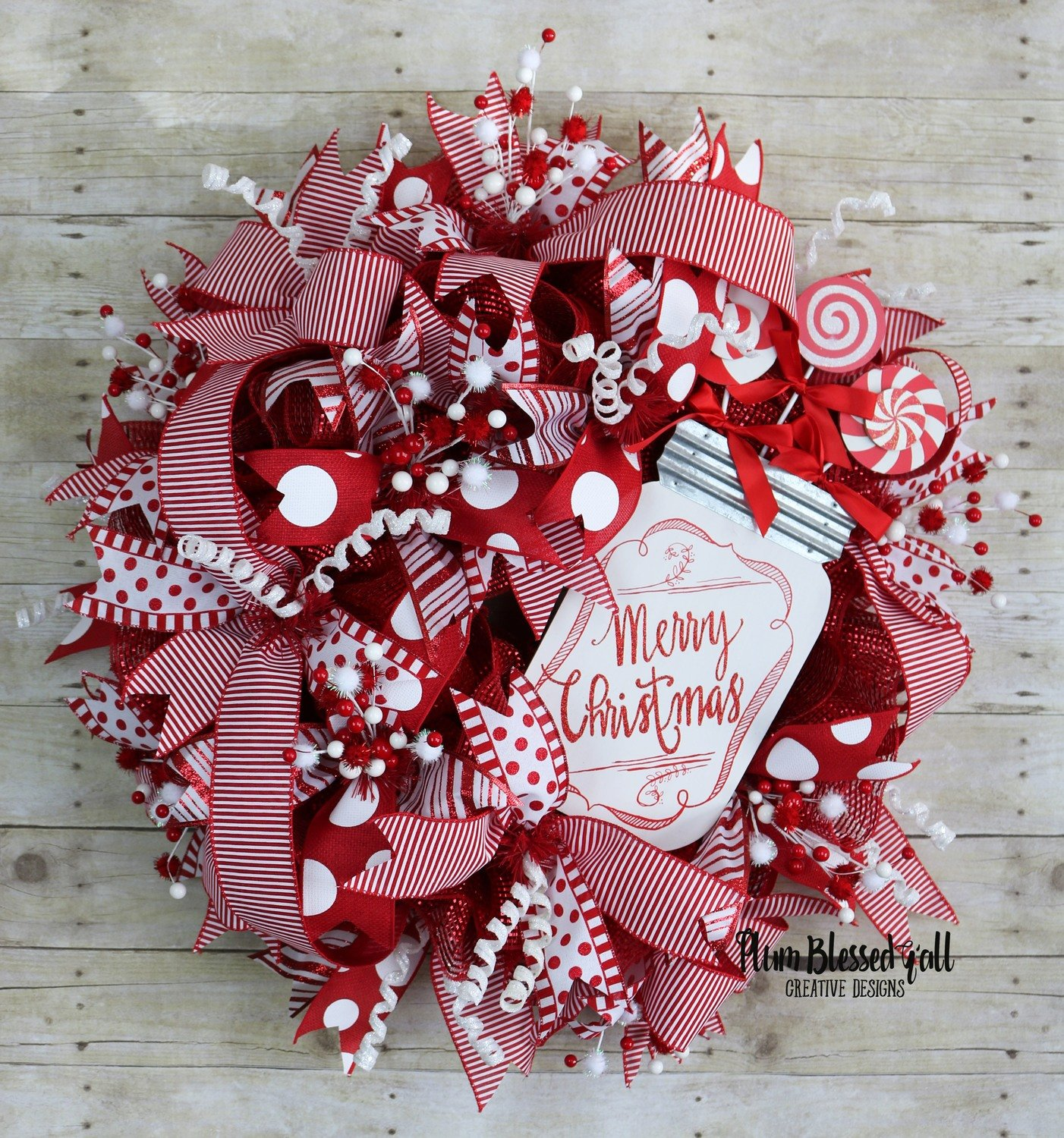 Xl Whimsical Christmas Deco Mesh Wreath For Front Door