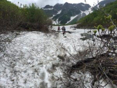 涸沢、登山、雪