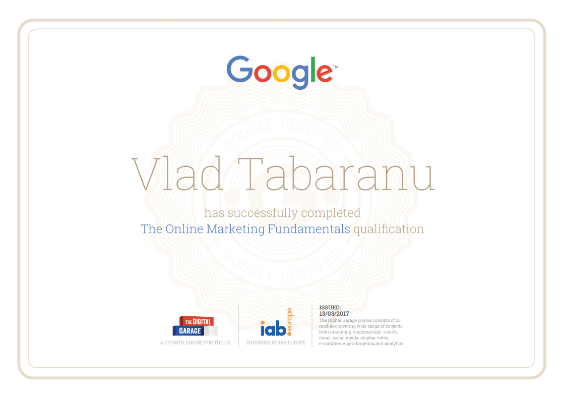 Google Online Marketing Fundamentals Certification