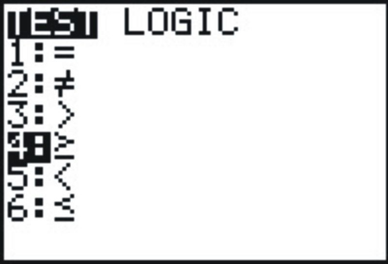 To enter the [AND] symbol, press [TEST] . Choose [LOGIC