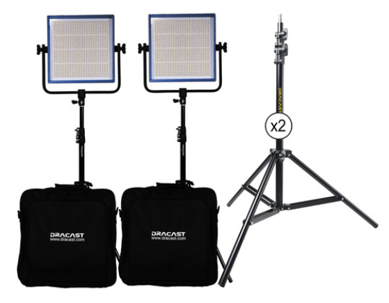 Dracast LED1000 Pro Bi-Color LED 2-Light Kit with Stands and Gold Mount Battery Plates