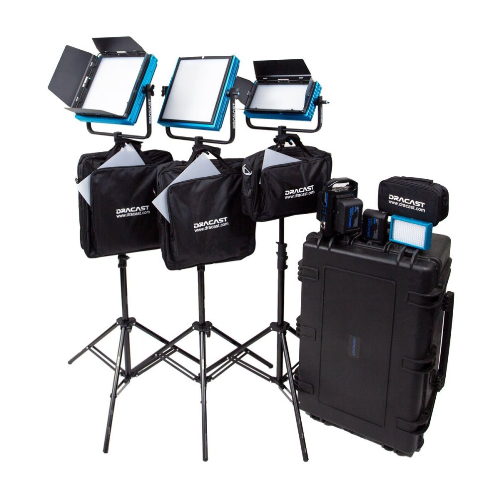 Dracast Pro Series Bi-Color 4-Light ENG Kit with Gold Mount Battery Plates