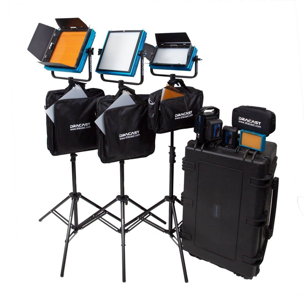 Dracast Pro Series Daylight 4-Light ENG Kit with Gold Mount Battery Plates