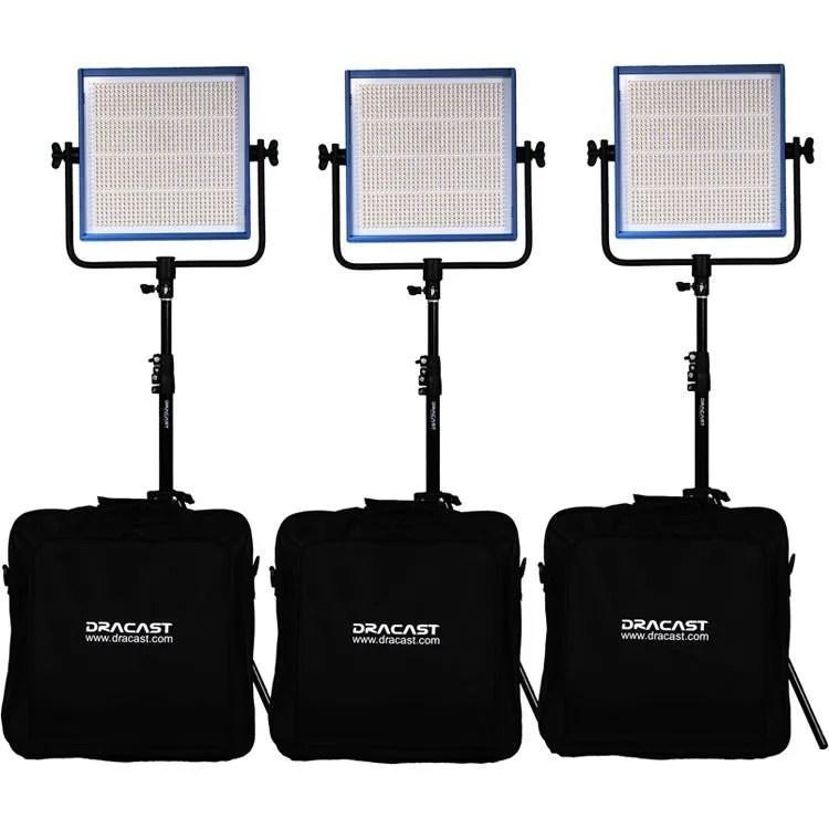 Dracast LED1000 Pro Series Daylight 3-Light Studio Kit with Gold Mount Battery Plates