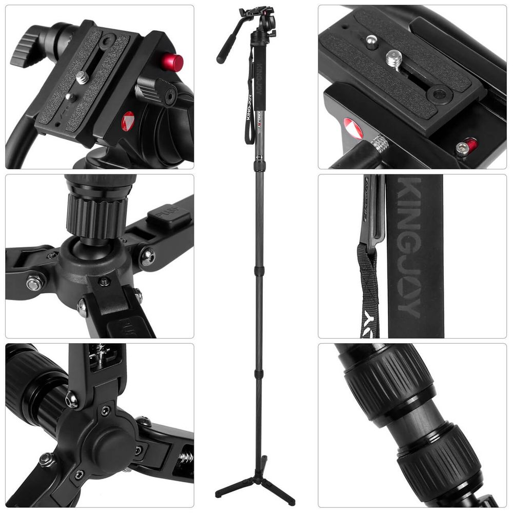 Kingjoy MP3208+KH6750 Professional Carbon Fiber Monopod with Fluid Drag Head