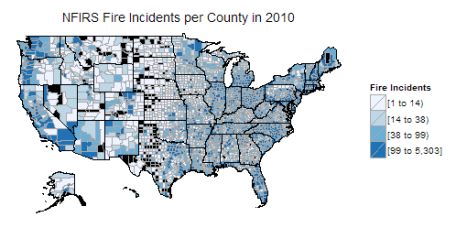 The Fire Incidents reported by NFIRS per county in 2010