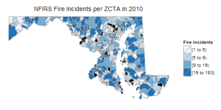 The Fire Incidents reported by NFIRS per ZCTA of Maryland in 2010