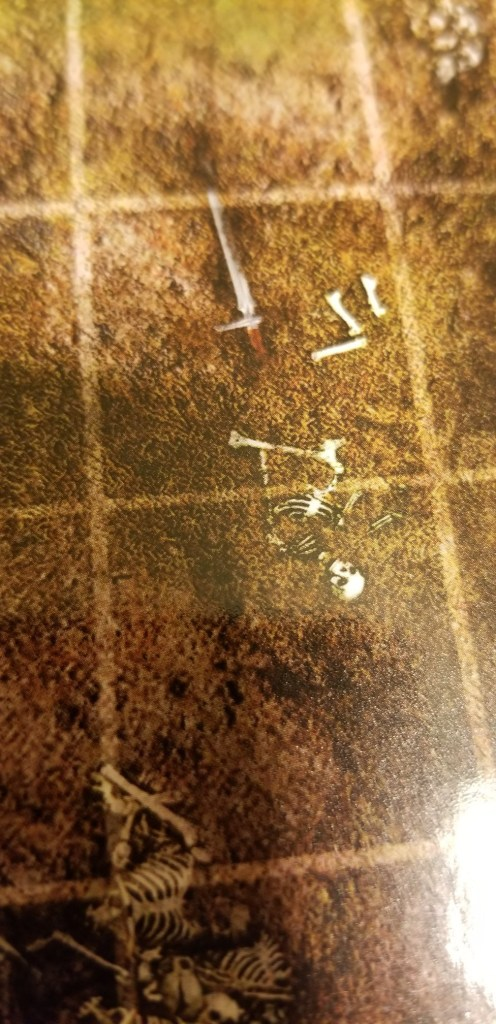 skeleton buried in the ground of one of the battle mats