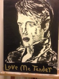 """SOLD """"Forever Elvis"""" 2018 Oil and Acrylic 17.5 x 24 inches"""