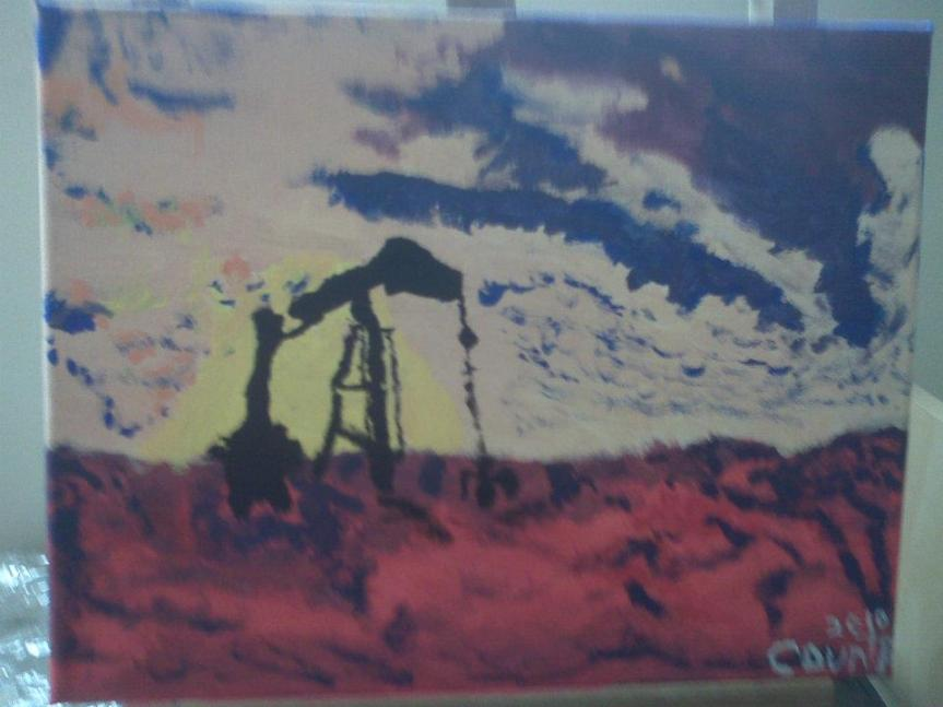 """SOLD """"Sunset Pump-Jack"""" 2010 Acrylic 12 x 15 inches"""