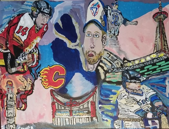 """"""" All Star Legacy """" 2021 Acrylic and Charcoal - 32 x 40 Inches."""