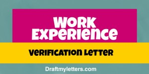 Work Experience Verification letter