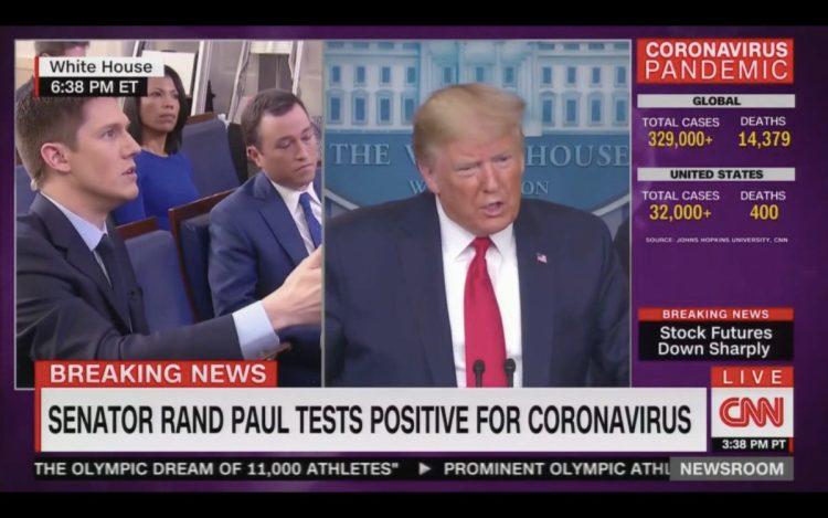 Cory Gardner Trump Smirks When Reporter Tells Him Romney is in Coronavirus Isolation: 'Gee, That's Too Bad'