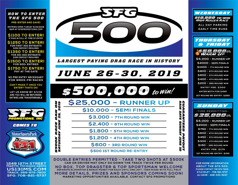 SFG Promotions SFG 500 2019