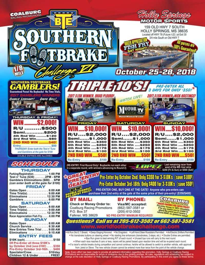 BTE Southern Footbrake Challenge Oct 26-28 Event Flyer