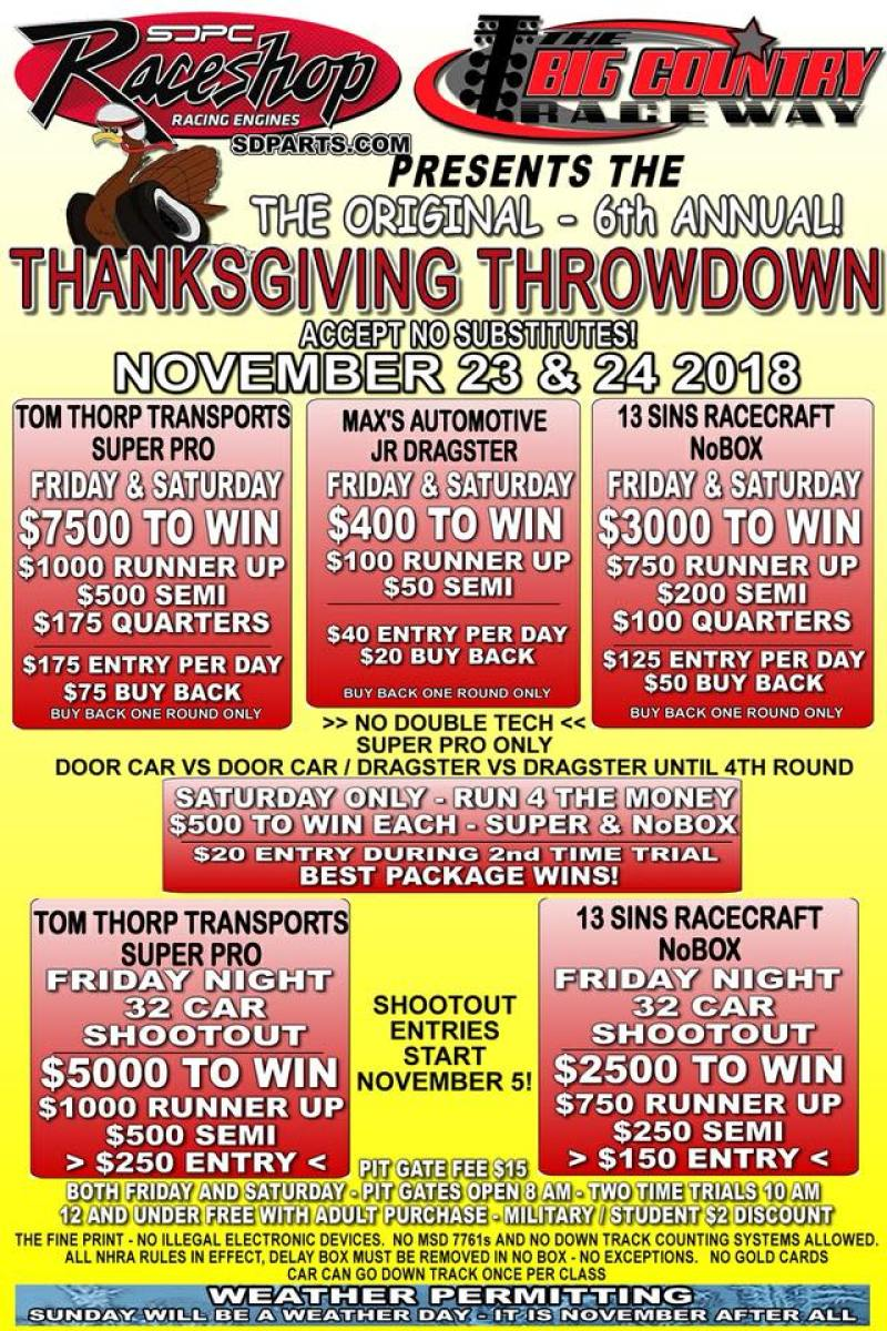 Big Country Raceway Thanksgiving Throwdown Nov 23-24 event flyer