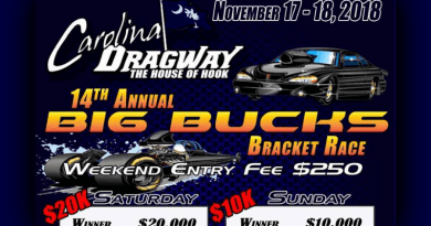 Carolina Dragway Big Bucks Bracket Race Flyer Nov 17-18