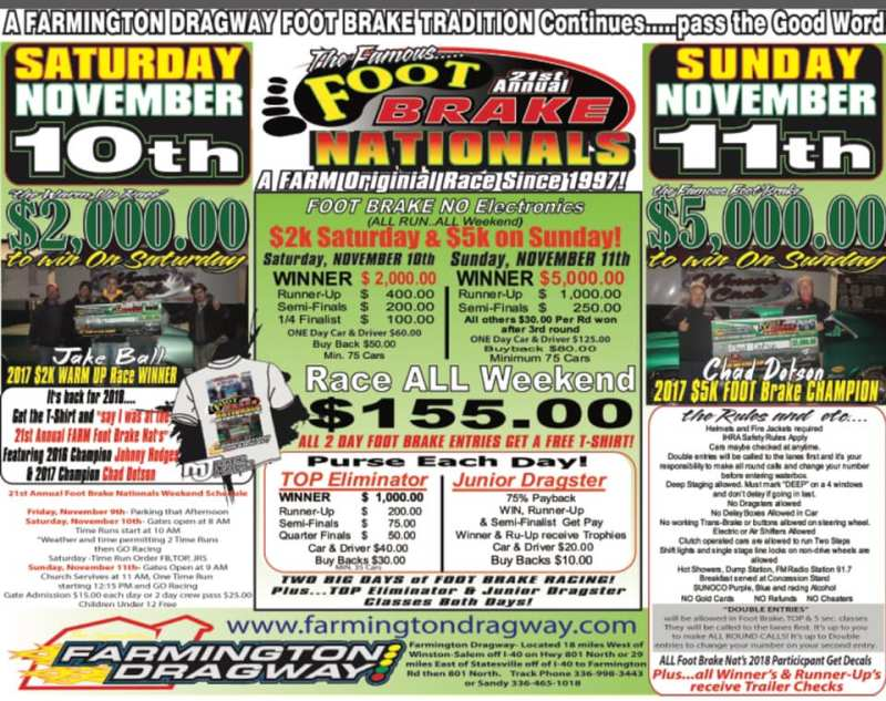 Farmington Footbrake Nationals Nov 10-11