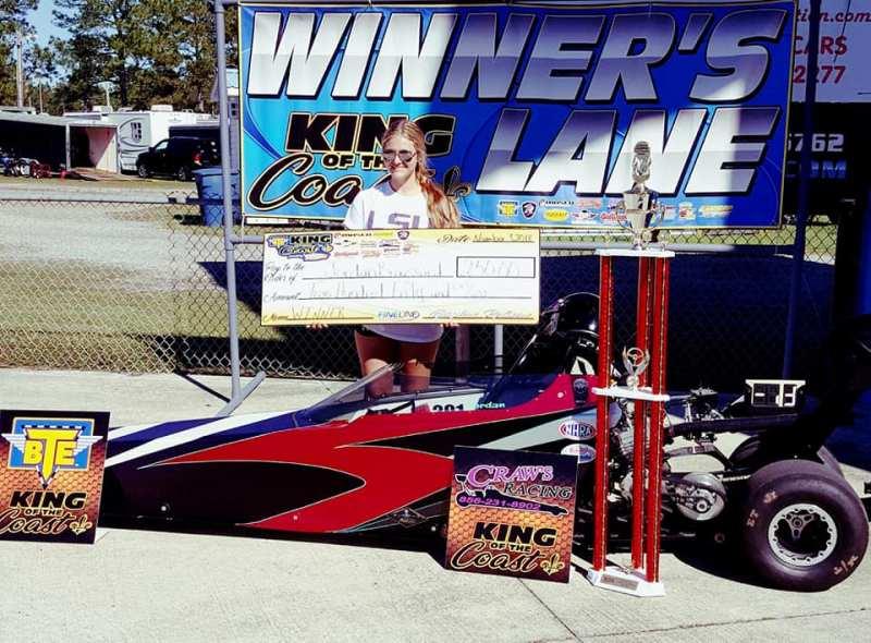 Jordan Broussard BTE KOC Evetn 5 Saturday Jr Dragster Winner