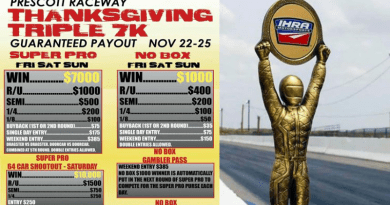 Prescott Raceway Thanksgiving Triple 7K Nov 22-25 event flyer