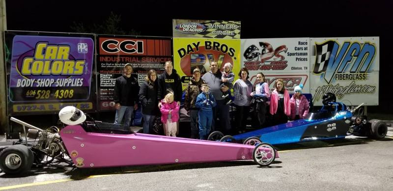 London Dragway Jr Dragster winner and runnerup CJ Short and Paige Smith 120218