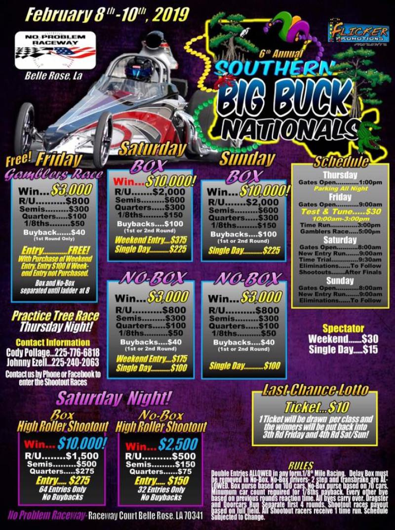 No Problem Raceway Southern Big Buck Nationals Feb 8-10