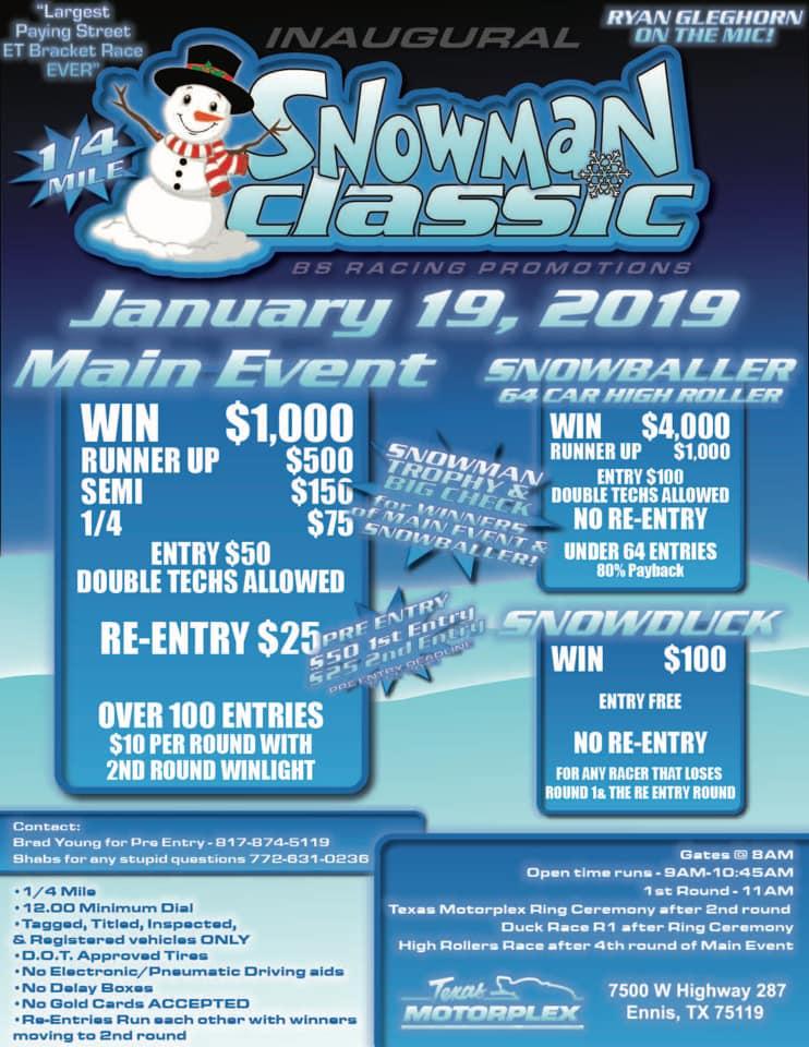 Snowman Classic Street ET Race Texas Motorplex 2019