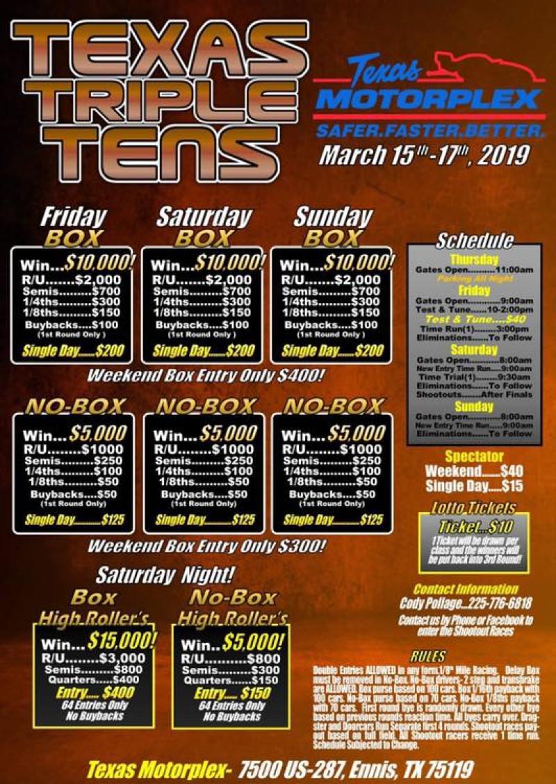 Texas Motorplex Texas Triple Tens March 15-17
