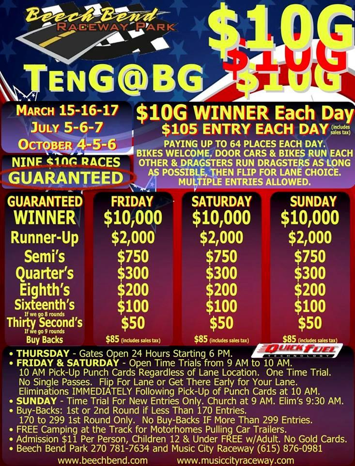 Beech Bend Raceway 10G at BG Event Flyer