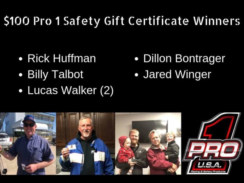 Pro 1 Gift Certificate Winners