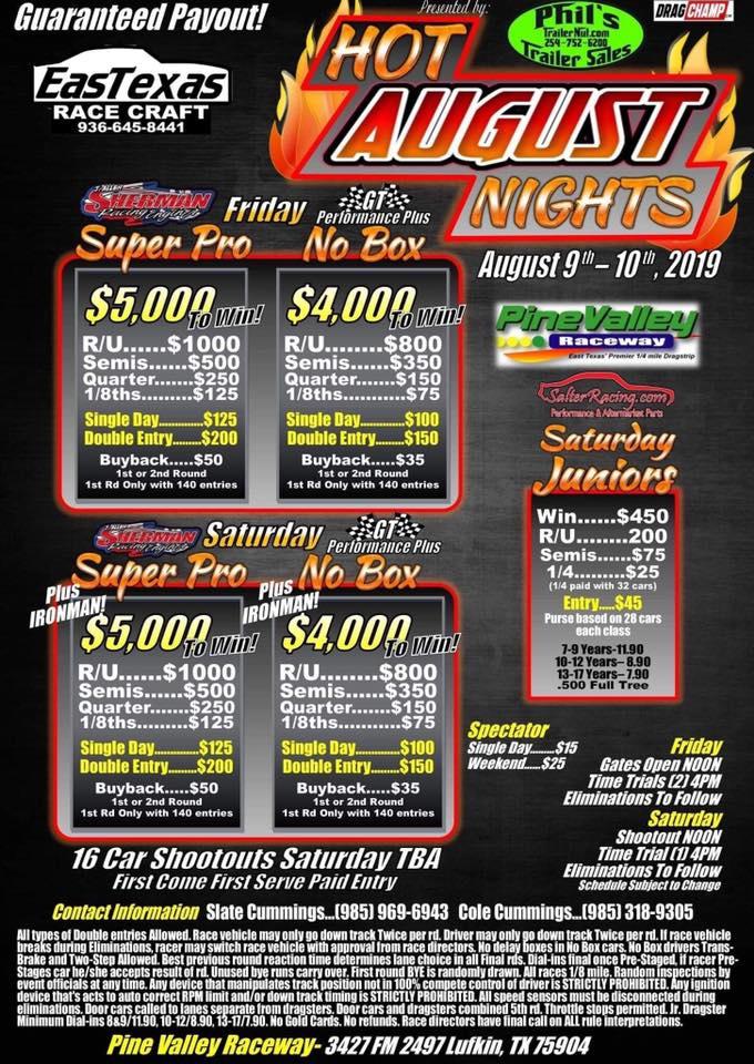 2019 Hot August Nights Bracket Race Flyer