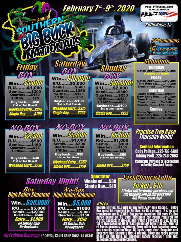 2020 Southern Big Buck Nationals Race Flyer