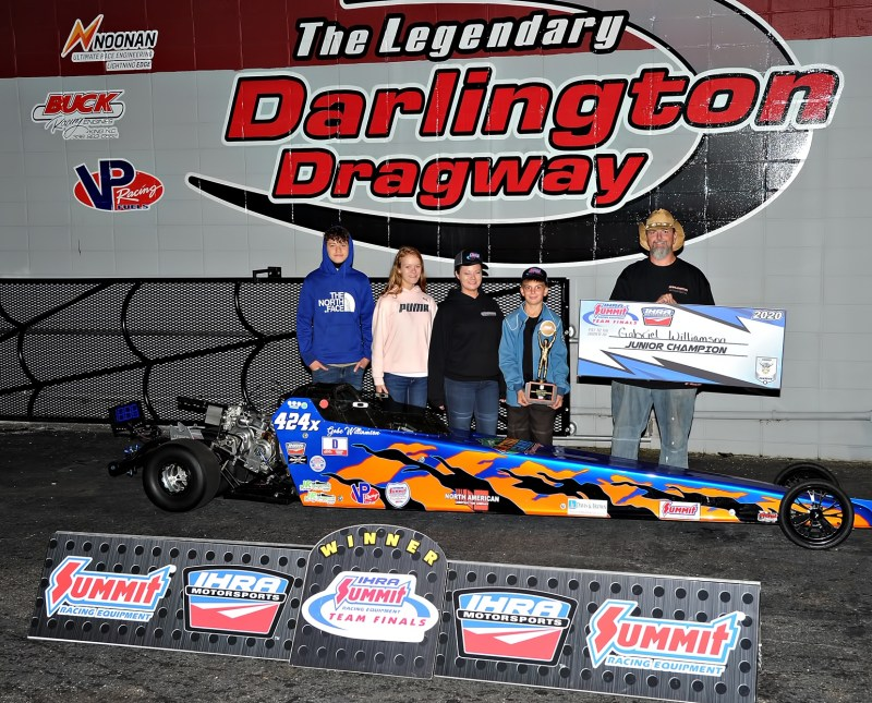Gabriel Williamson Junior dragster main event winner