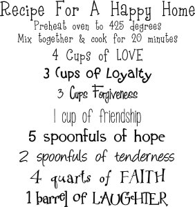 Recipe for a Happy Home